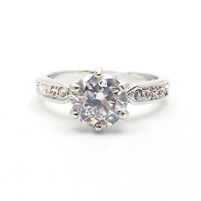 Fashion Jewelry - 18K White Gold Plated Solitaire CZ Ring (FR100)
