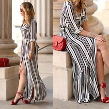 Sexy Womens Summer Striped Casual Evening Party Cocktail Long Shirt Maxi Dress