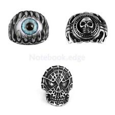 Steampunk 316L Steel Eye w/ Claws Skull Shield Mens Band Ring Father's Day Gift