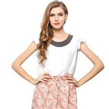 New Womens Summer Beaded Collar Short Sleeve Chiffon Blouse Tops Shirt