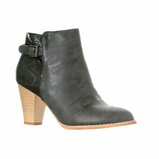 Riverberry Women's Becca Chunky Heel Faux Snake/Leather Ankle Bootie Boots