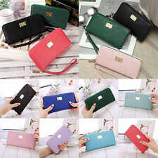 New Fashion Zipper PU Leather Solid Clutch Wallet Long Card Holder Handbag Purse