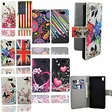 Wallet Card Slots PU Leather Flip Skin Phone Case Cover Stand For Sony Xperie