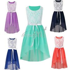New Flower Girl Dress Princess Vintage Birthday Party Wedding Lace Chiffon Dress
