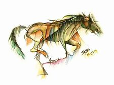 Modern horse print 'Zest' by Jessica Hill A5 WAS £10.00 !!