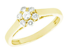 Natural 0.35Ct Round Diamond Cluster Flower Engagement Ring 18K Gold