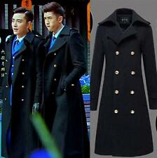 Men's Military Double Breasted Wool Blend Winter Jackets Warm Long Trench Coats@