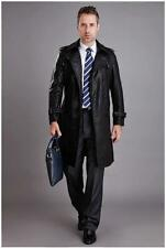 Mens Double Breated Sheep Leather Blazers Long Coats Business Trench Jackets Sz
