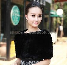 100% Real Genuine Rex rabbit Fur Knitted Jacket Coat Outwear Sweater Shawl soft