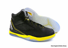 Nike men Air Jordan Flight Remix basketball shoes - Black / Vibrant Yellow $160
