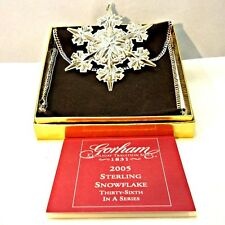 2005 Gorham Sterling Silver Snowflake Christmas Ornament with Original Box and P