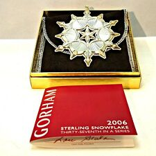 2006 Gorham Sterling Silver Snowflake Christmas Ornament with Original Box and P