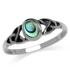 Abalone/Paua Shell Inlay 925 Sterling Silver Celtic Knot Ring