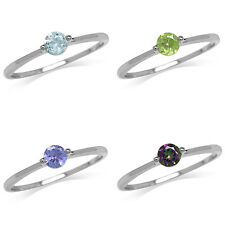 Topaz, Peridot, Tanzanite 925 Sterling Silver White Gold Plated Promise Ring