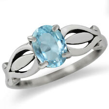 1.5ct. Natural Blue Topaz 925 Sterling Silver Solitaire Ring
