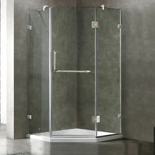 VIGO Frameless Neo-Angle Clear Glass Shower Enclosure with Low-Profile Base in B