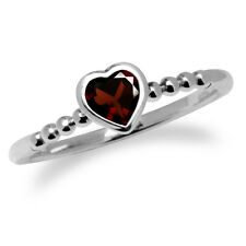 Natural Garnet 925 Sterling Silver Stack/Stackable Heart Solitaire Ring