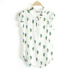 New Womens Summer Floral Animal Print Short Sleeve Blouse Tops Shirt 14 Colors