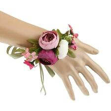 Wedding Bride Wrist Corsage Artificial Rose Flower Ribbon