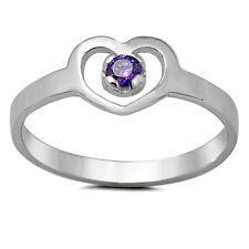 Sterling Silver Ring CZ Kids Heart Baby Amethyst Midi Ladies size 1-5 New x47