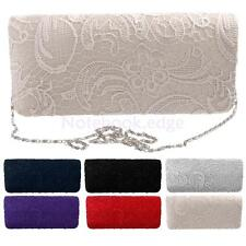 Designer Satin with Lace Party Wedding Purse Bride Shoulder Clutch Chain Handbag