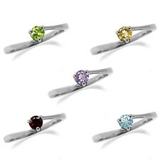 Peridot,Topaz,Amethyst,Garnet,Citrine 925 Sterling Silver Solitaire Promise Ring