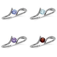 Tanzanite, Topaz, Amethyst, Garnet 925 Sterling Silver White Gold Plated Ring