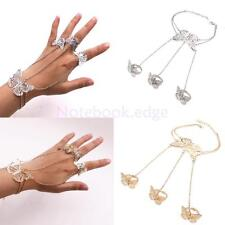 Women Silver/Gold Butterfly Bracelet Bangle Slave Chain Finger Ring Hand Harness
