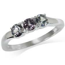 3-Stone Simulated Color Change Alexandrite Doublet 925 Sterling Silver Ring