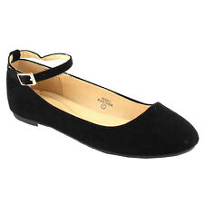 BELLA MARIE DEON-1 Women's Comfy Ankle Strap Slip On Ballet Flats