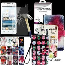 Leather Wallet Case+ Tempered Glass Screen protector For Huawei Ascend Mobile