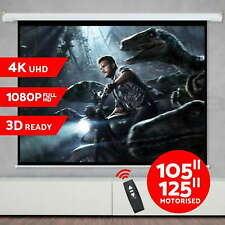 "NEW 105"" 125"" Projector Screen Electric Motorised Home Theatre 3D Projection"