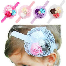 New Toddler Baby Girl Lace Rose Flower Pearl Headband Hair Band Hair Accessories