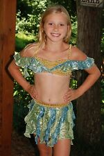 Exquisite blue/yellow custom competition lyrical dance costume CM/L