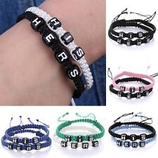 2pcs Hand Woven Lettering Braided Wristband Bracelet Bangle His &Hers For Lovers