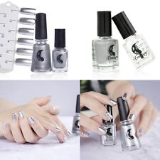 2Pc Nail Art Shiny Silver Glitter Mirror Effect Nail Polish Shimmer Nail Varnish