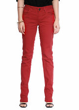 Womens Slim Skinny Jeans Ladies Casual Slouch Straight Leg Denim Trouser Red