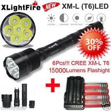 Tactical 15000 Lumen 6 XML T6 LED Flashlight Torch 5 Mode 18650 Battery &charger