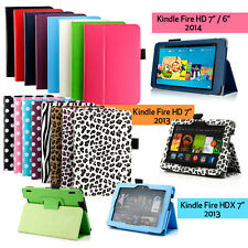 """For 2014 Amazon Kindle Fire HDX 7 HD 7"""" Folio PU Leather Case Cover Stand"""