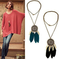 Fashion Retro Dream Catcher Pendant Feather Charms Long Sweater Chain Necklace