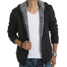 UN3F Men Winter Wool Lining Cardigan Warm Knitted Hoodies Jacket Hooded Coat
