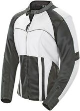 Joe Rocket Radar - Womens Leather Motorcycle Jacket - White/Gunmetal