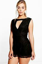 Boohoo Womens Plus Katrina Sleeveless Wrap Detail Lace Playsuit
