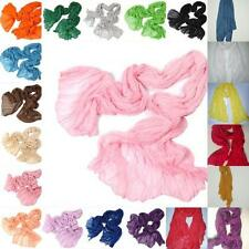 Women Long Big Crinkle Voile Soft Scarf Wrap Shawl Stole Pure Candy 21 Color W3