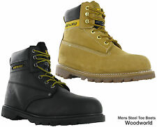 Woodworld Safety Goodyear Leather Steel Toe Cap Padded Ankle Work Boots Mens