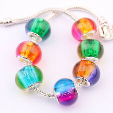5/20 Pcs Colorful Murano Lampwork Glass Spacer Charm Bead Fit European Bracelets