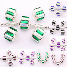 5/20Pcs Copper Rhinestone Colorful Big Hole Beads Fit European Charm Bracelet