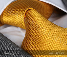 NEW ITALIAN DESIGNER YELLOW DIAMOND SILK TIE