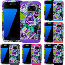 For Samsung Galaxy S7 Shock Impact Kickstand Hard Cover Case Purple Rose Stripes