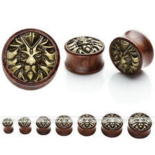 Organic Solid Sono Wood Golden Lion Head Inlaid Saddle Ear Plugs Tunnel Expander